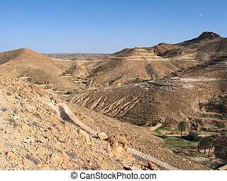 Desert and mountains in Tunisia