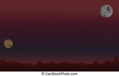 Desert and planet at night space landscape