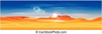 Desert and rocky mountains - Stylized panorama of the desert...