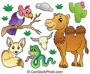 Desert animals collection 1 - vector illustration.