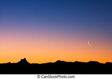 Desert at Dusk - A simple desert landscape after sunset with...