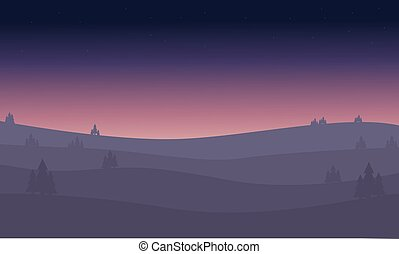 Desert at night of silhouette
