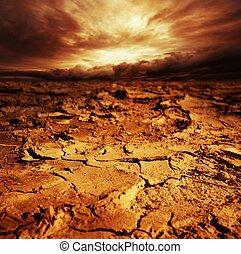 desert., aus, himmelsgewölbe, stürmisch