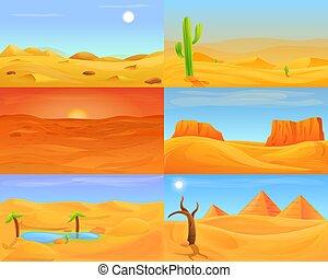 Desert banner set, cartoon style
