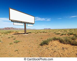 Desert billboard. - Blank billboard in middle of desert...