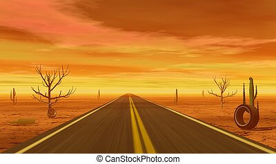 Big road in a desert with dead trees, cactus and tires by a cloudy sunset