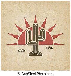 Desert cactus at sunset old background - vector illustration...