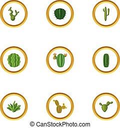 Desert cactus, icons set, cartoon style - Desert cactus...