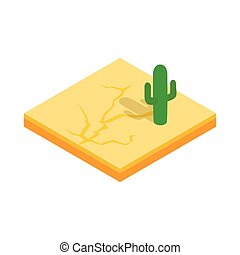 Desert cactus landscape icon, isometric 3d style