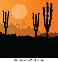 Desert cactus plants wild nature landscape illustration background vector