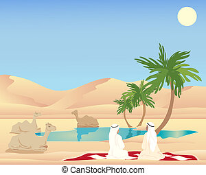 desert camp - an illustration of two arab men and camels...