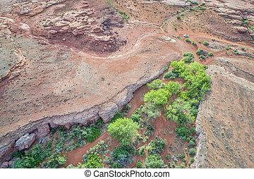 desert canyon in Utah aerial view