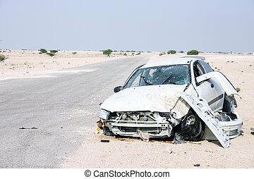 Desert car wreck - The wreckage of a car in the desert of...
