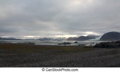 Desert coast and waves of Arctic Ocean on background of...