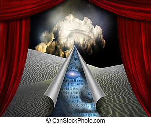 Desert curtain scene opened to another