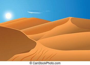 desert dune - vector illustration of desert dunes with blue...