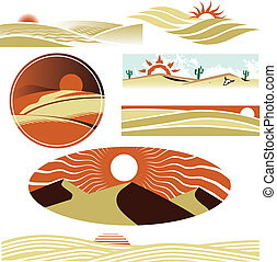 A clip art collection of desert scenes