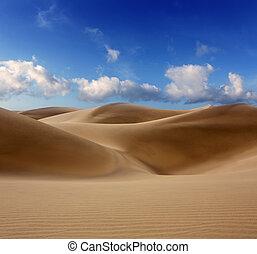 Desert dunes sand in Maspalomas Oasis Gran Canaria at Canary islands