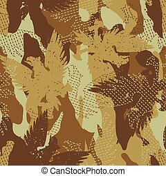 Desert eagle military camouflage seamless pattern