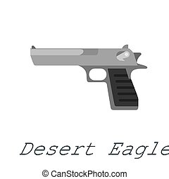 Desert eagle Pistol gun, military handgun weapon, firearm automatic revolver black isolated icon vector illustration.