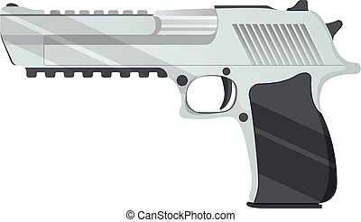 Desert eagle pistol icon, self defense weapon, concept cartoon vector illustration, isolated on white. Shooting powerful firearms revolver.
