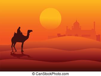 Desert - Silhouette illustration of an Arabian riding a...