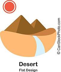 Desert Flat Illustration - Desert and pyramid In Flat Color...