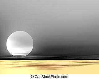 Desert Fog - Moon rising in desert fog