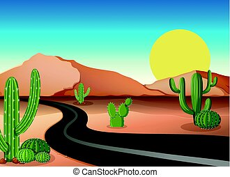 Desert ground with empty road illustration
