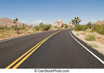 Desert highway - Road through the desert, Joshua Tree...
