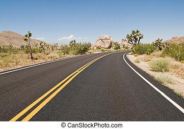 Desert highway - Road through the desert, Joshua Tree...