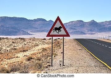 Desert Horse Road Sign, Namibia