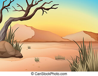 Illustration of a view of a desert