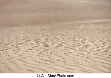Desert in Huacachina, Peru. Closeup dunes