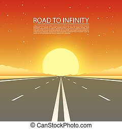 desert., infinità, strada, autostrada