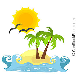 Desert island and sea. Vector paradise - holidays for solitary