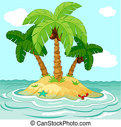 Desert island - Illustration of palm trees on desert island