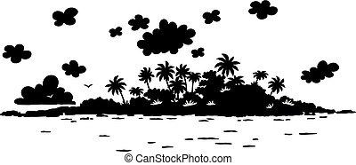 Desert island in a tropical sea