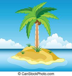 Desert island in ocean