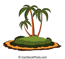 Desert island with palm trees