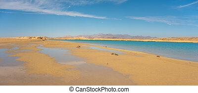 Desert landscape and salt lake in national park Ras Mohammed, Sinai, Egypt