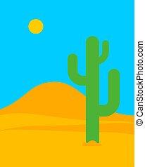 Desert landscape cartoon. Sand and cactus. vector illustration