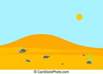 Desert landscape cartoon. Sand wave background. vector illustration