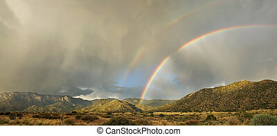 Desert Landscape: Double Rainbow over Sandia Mountains