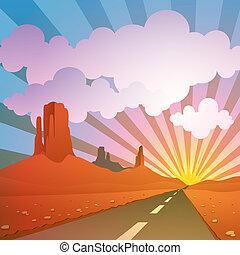 Desert Landscape - A Desert Landscape with Road, Highway