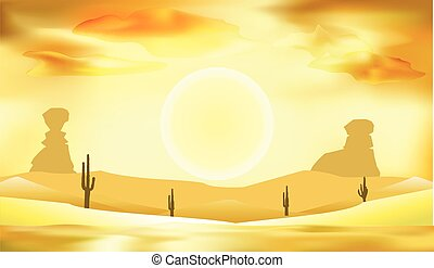 desert landscape, dunes and sun background vector illustration