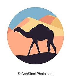 desert landscape flat scene with sand and camel