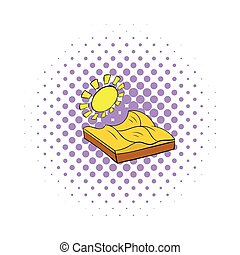Desert landscape icon in comics style on a white background