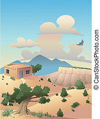 Illustration of a desert landscape in the Southwestern United States.