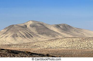 Landscape of desert mountain from Fuerteventura Island in Spain
